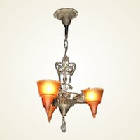 Slip Shade Fixture with Serpents and Original Finish