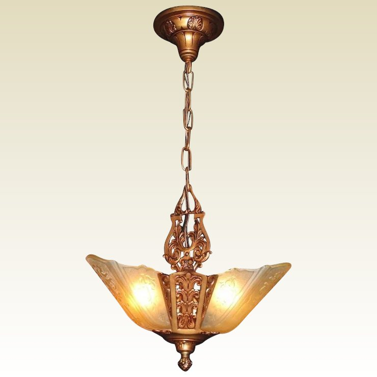 1930s Moe Bridges 3 Slip Shade Antique Ceiling Light Fixture