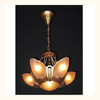 1930s Vintage Lincoln 6 Slip Shade Ceiling Fixture