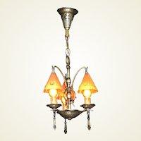 Vintage Arts & Crafts 3 Smoke Bell Vintage Chandelier