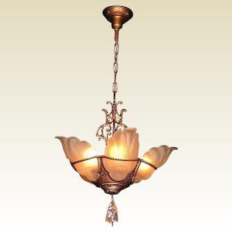 1930s Vintage Art Deco Slip Shade Lighting Chandelier