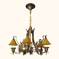 Storybook Style Vintage Ceiling Light Fixture with Original Smoke Bell Fixture.