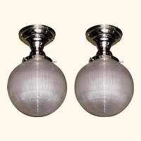 Vintage 6 Inch Holophane Globe Pair