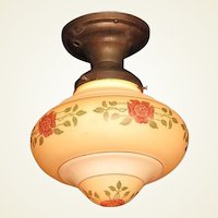 Two Vintage Arts & Crafts Bungalow Rose Ceiling Fixture
