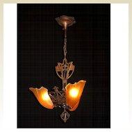 Copper Clad Vintage Slip Shade Ceiling Fixture Original Finish