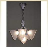 Vintage Consolidated Glass Co. 6 Shade Chandelier