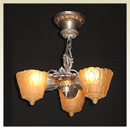 Low Drop 3 Slip Shade Vintage Ceiling Chandelier