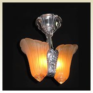 Polished Aluminum 2 Slip Shade Ceiling Flush Mount Vintage Chandelier