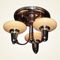 Vintage Flush Mount 3 Slip Shade Mid-Century Ceiling Light Fixture 1930s