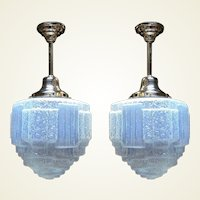 14 inch Vintage Blue Ice Art Deco Ceiling Fixture 3 available priced each