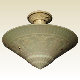 Large Custard Art Deco Shade by Phoenix Glass Co