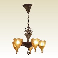 5 Slip Shade Vintage Tudor Fixture.  Bronze / Copper finish over Cast Iron