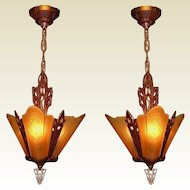3 Slip Shade Vintage Ceiling Fixtures.  2 available priced each