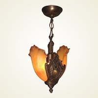 Solid Bronze Art Deco Two Shade Pendant Fixture Original Finish and Patina