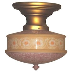 Original Lavender and Light Tan Colored Bellova Glass Shade on Fitter