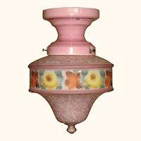 Original Lavender Colored Bellova Glass Shade on Vintage Lavender Porcelain Fitter
