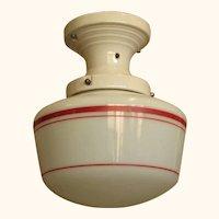 Vintage Red Stripped Globe On White Porcelain Fitter 1920s