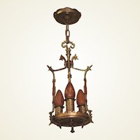 Spanish Revival 3 Bulb Polychrome Bronze and Brass Pendant