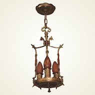Spanish Revival 3 Bulb Polychrome Bronze and Brass Pendant