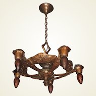 1920s Signed CB Rogers 5 Light Fixture in Original Colors and Patina