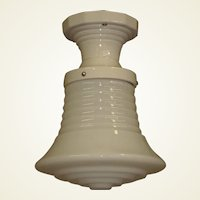 Ringed Milk Glass Shade on White Porcelain Fitter 1930s