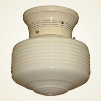 Vintage Kitchen Bath Ceiling Fixture with Silver Rings on Porcelain