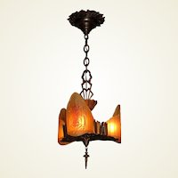 All Bronze 3 Slip Shade Pendant c.1929