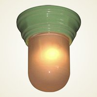 Green Porcelain Screw In Base with Frosted Shade
