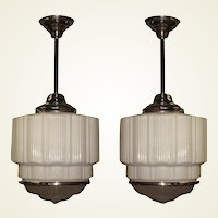 6 Large Bank Lobby Ceiling Fixture, circa 1925