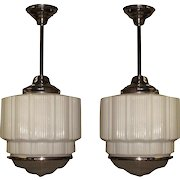 3 Large Bank Lobby Ceiling Fixture, circa 1925
