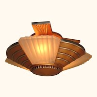 3 Bulb Flush Mount Deco Mid Century 1930s 2 available