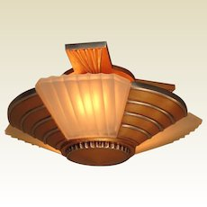 3 Bulb Flush Mount Deco Mid Century 1930s 2 available