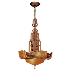 Rare 6 Shade Lightolier Art Deco Chandelier