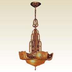 Rare 6 Shade Lightolier Art Deco Chandelier