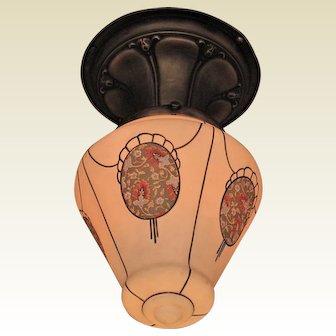 Custard Glass Teardrop Globe with Chintz Patterned Medallions