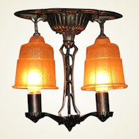 2 Shade Art Deco Inspired Ceiling Fixture