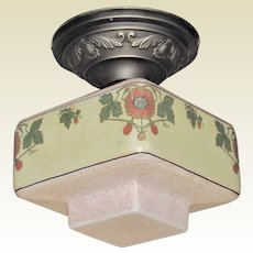 Cottage or Bungalow Floral Ceiling Shade on Vintage Floral Ceiling Fitter
