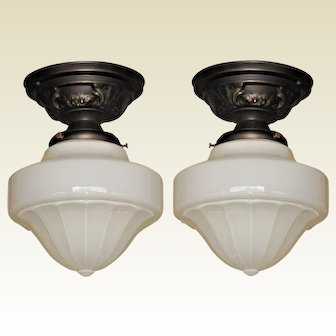 Pair Matching Mid Sized Milk Glass Ceiling Lights