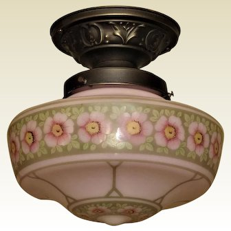 Rose Colored Globe with Floral Pattern