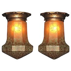 2 Arts & Crafts Crackle Glass Flush Mount Priced Each