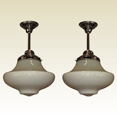 Pr. Unusual Two Tone Milk Glass School House Fixtures