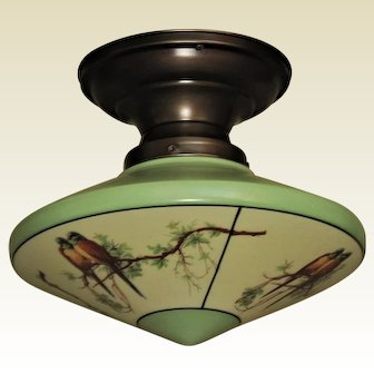 1 of 2 c.1930s Parrot Shade with Bungalow Green Trim