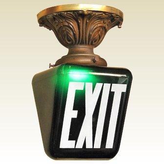 Dark Green EXIT Sign on Brass