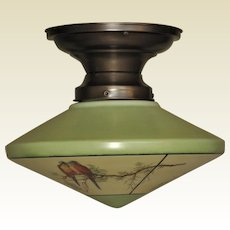 2 of 2 c.1930s Parrot Shade with Bungalow Green Trim