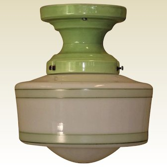 1 of 2 Matching Vintage Bungalow Green Porcelain and Shade