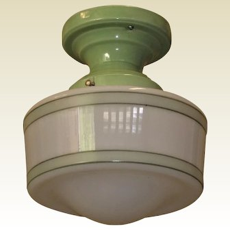 2 of 2 Matching Vintage Bungalow Green Porcelain and Shade