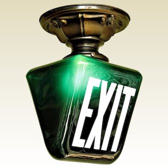Dark Green EXIT Sign on Brass Fitter