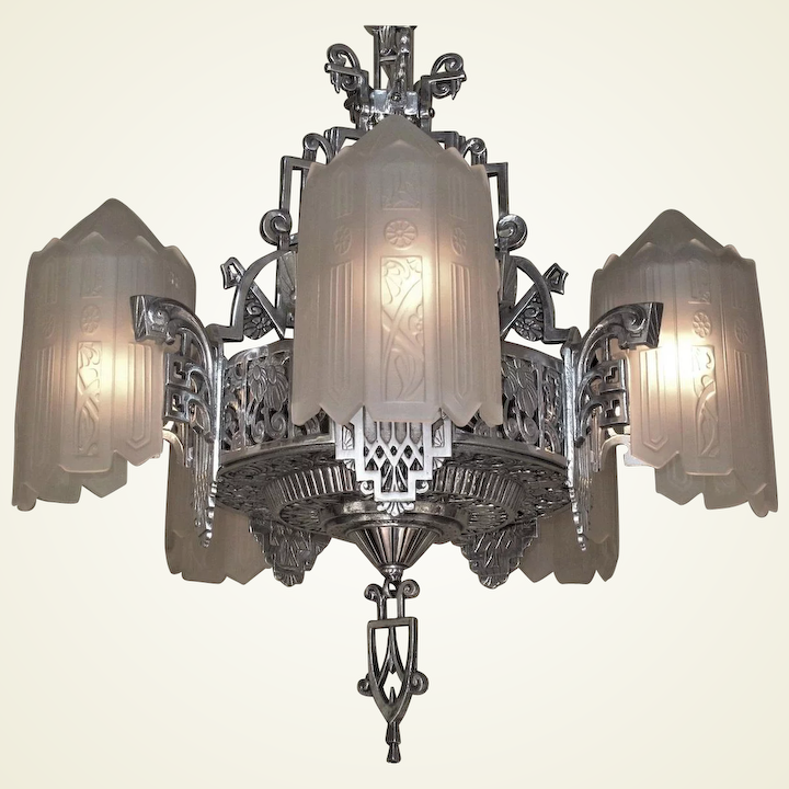 Grande Dame Of American Art Deco Lighting C 1932 Two Available