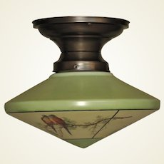 Bungalow Green Kitchen Lighting with Parrots