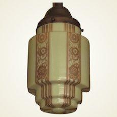 Two Deco Designed Custard Pendant Globes